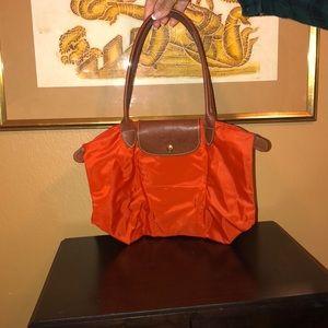 Orange Longchamp tote, small